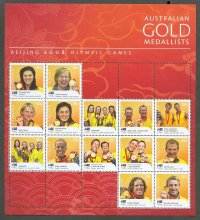 stamp aus 2008 mi 3052 3065 ms og beijing gold medallists