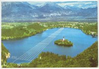 pc yug 1966 wrc bled photo of lake with map of regatta course drawn in