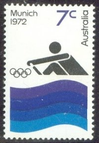 stamp aus 1972 aug. 8th og munich stylized rower blue waves