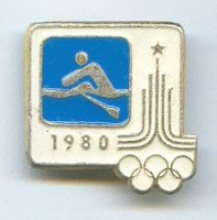 pin urs 1980 og moscow pictogram on blue background with logo of the games on white background
