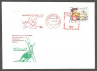 illustrated cover cze 1993 wrc racice with stamp red meter pm and green kangaroo mascot