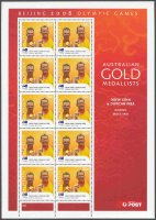 stamp aus 2008 aug. 18th mi 3057 ii ms og beijing gold medal winners drew ginn duncan free m2