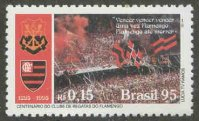 stamp bra 1995 oct. 6th mi 2669 clube de regatas do flamengo centenary 1895 1995 old new club emblem