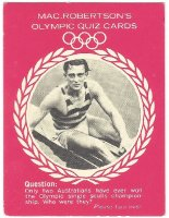 CC AUS 1964 MAC ROBERTSONs Quiz card Mervyn Wood AUS Olympic M1X champion OG Helsinki 1952