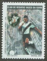 stamp bra 2001 aug. 21st mi 3169 club de regatas vasco da gama rio de janeiro club emblem soccer player dressed in club colours