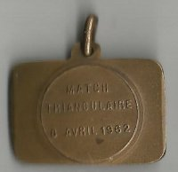 Medal BEL 1962 Match Triangulaire reverse