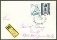 registered letter aut 1959 july 5th vienna 7th three country match ger yug aut with registration label wien 101 sonderpostamt 002 cl
