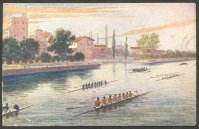 pc aut b.k.w.i. 460 3 drawing of several 8 rowing on canal or river