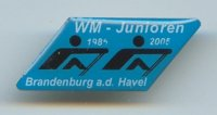 Pin GER 2005 JWRC Brandenburg Two black pictograms on blue background with inscription WM Junioren 1985 2005