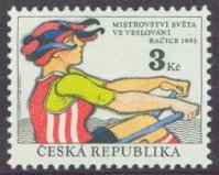 stamp cze 1993 aug. 18th wrc racice mi 20 drawing of sculler