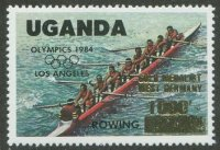 stamp uga 1985 aug. 21st winners at the og los angeles mi 443 mi 400 with golden overprint