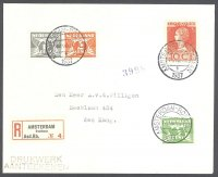 registered letter ned 1937 aug. 14th amsterdam roeibaan erc with registration label no. 4 coll. e