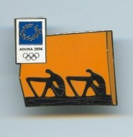 pin gre og athens 2004 two antique rowers in black on orange background