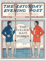 Magazine cover USA 1902 The Saturday Evening Post Harvard versus Yale University image on magnet