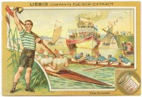 cc ger 1896 liebig s 494 three 4 racing rower waving his cap