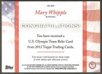 cc usa 2012 topps company u.s. olympic team relic card mary whipple reverse