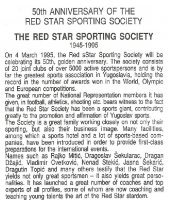 fdc yug 1995 march 4th 50th anniversary of red star sporting society reverse