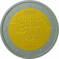coin fin 2007 independency 90 years 2 eur stylized 9x