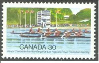 stamp can 1982 aug. 4th royal canadian henley regatta anniversary mi 848 4 race passing finish tower