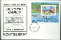 fdc monserrat 1988 july 29th og seoul ss mi bl. 49 single sculler victory ceremony 2x at og munich 1972