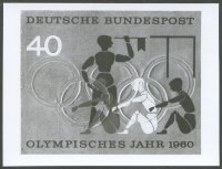 stamp ger 1960 olympic year b w photo of unissued design