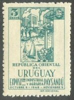 stamp uru 1948 oct. 9th mi 740 exposition of industry and agriculture paysandu drawing of tiny 4x