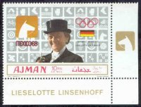 stamp ajman 1969 march 1st og mexico gold medal winners mi 453 a l. linsenhoff pictogram