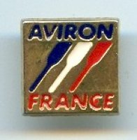 pin fra rowing federation aviron in blue three blades in blue white red france in red