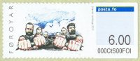 stamp den faroer islands 2010 sept. 20th mi 11 self adhesive close view of men pulling hard
