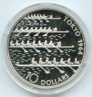 coin lib 2003 og tokyo 1964 10 dollars silver pp four 8 racing front