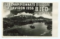 pc yug 1956 erc bled b w photo of lake and surrounding mountains with marking of regatta course