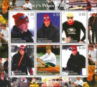 stamp tjk 2000 ms prince william prince william sculling different image in margin