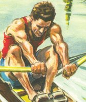 Ad FRA 1953 Société Parisienne d Expansion Chimique VITASCORBOL 500 Coloured drawing of single sculler detail