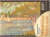 Stamp TOG 2019 The Seine at the Isle of Grande Jatte in spring by Georges Seurat