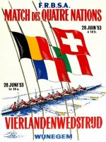 Poster BEL 1953 Four Nations Contest BEL FRA ITA SUI founder nations of FISA image on magnet