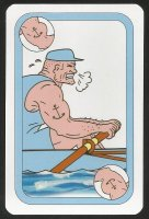 Card game AUT 1997 Oxford Cambridge Boat Race Cambridge rower exerting utmost power
