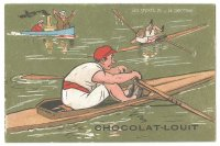 CC FRA CHOCOLAT LOUIT Les Sports VII Le Canotage comic drawing of a single scullers race