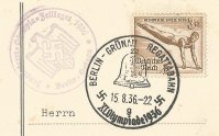 Cachet GER 1936 Berlin Gruenau Jungruderer Olympia Zeltlager Olympic tent camp for young rowing athletes
