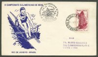 illustrated cover bra 1954 may 2nd rio de janeiro third southamerican rowing championships drawing of single sculler