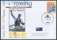 illustrated cover aus 2000 og sydney honouring rob waddell nzl gold medal winner 1x with pm of final and stamp mi 1966 from booklet