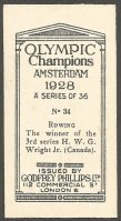 CC GBR 1929 GODFREY PHILLIPS Olympic Champions Amsterdam 1928 No. 34 H. W. G. Wright Jr. CAN reverse