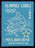 label aus 1956 og melbourne esperanto blue colour