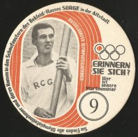 Beer mat GER 1972 OG Munich Peter Wilbert RC Germania Duesseldorf spare man for the German Olympic team