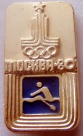 Pin URS 1980 OG Moscow Logo of the Games with pictogram on blue background
