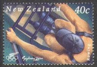 stamp nzl 2000 aug. 4th mi 1851 og sydney sculler seen from above