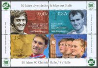 stamp ger 2008 june 30th mzz halle small ms 50 years olympic success from halle with portraits of andeas hajek and martin gulyas
