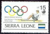 stamp sle 1989 apr. 28th gold medal winners og seoul mi 1167 thomas lange gdr winner of the single sculls