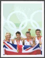 cc gbr 2008 og beijing medal winners sporting profiles card 15 peter reed tom james andy triggs hodge steve williams m4 gold medal winners