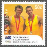 stamp aus 2008 aug. 18th mi 3058 ii og beijing gold medal winners david crawshay scott brennan m2x