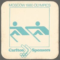 Beer mat AUS CARLTON SPONSORS Moscow 1980 Olympics with with Olympic pictogram No. 3 Munich 1972